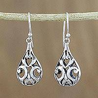Sterling silver dangle earrings, 'Glimmering Night' - Openwork Sterling Silver Dangle Earrings from Thailand