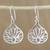 Sterling silver dangle earrings, 'Shimmering Lotus' - Lotus-Shaped Sterling Silver Dangle Earrings from Thailand thumbail