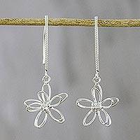 Sterling silver dangle earrings, 'Dewy Daisies' - Floral Sterling Silver Dangle Earrings from Thailand