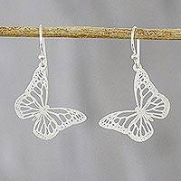 Sterling silver dangle earrings, 'Gorgeous Butterflies' - Butterfly Sterling Silver Dangle Earrings from Thailand