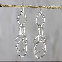 Sterling silver dangle earrings, 'Darling Hoops' - Hooped Sterling Silver Dangle Earrings from Thailand
