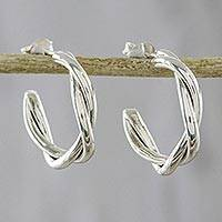 Sterling silver half-hoop earrings, 'Spiral Curves' - Spiral-Shaped Silver Half-Hoop Earrings from Thailand