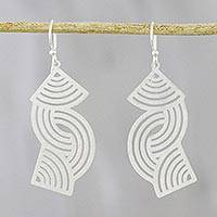 Sterling silver dangle earrings, 'Zen Breeze' - Sterling Silver Dangle Earrings Crafted in Thailand
