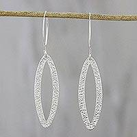 Sterling silver dangle earrings, 'Jungle Shimmer' - Elliptical Sterling Silver Dangle Earrings from Thailand