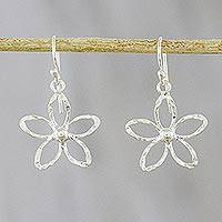 Sterling silver dangle earrings, 'Fun Flowers' - Flower Sterling Silver Dangle Earrings from Thailand