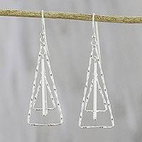 Sterling silver dangle earrings, 'Dewy Trees' - Triangular Sterling Silver Dangle Earrings from Thailand