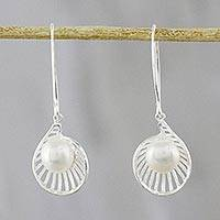 Cultured pearl dangle earrings, 'Darlings of the Sea' - Cultured Pearl Dangle Earrings Crafted in Thailand