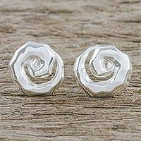 Sterling silver button earrings, 'Gleaming Spirals' - Spiral Sterling Silver Button Earrings from Thailand