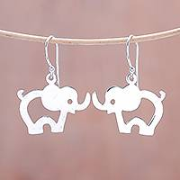 Sterling silver dangle earrings, 'Elephant Children' - Elephant Sterling Silver Dangle Earrings from Thailand