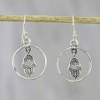 Sterling silver dangle earrings, 'Hamsa Circles' - Circular Hamsa Sterling Silver Dangle Earrings from Thailand