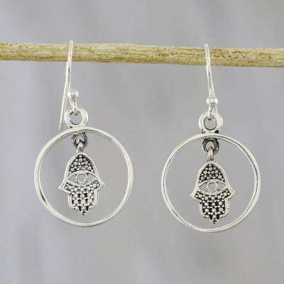 Novica Sterling silver dangle earrings, Hamsa Protection