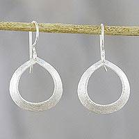 Sterling silver dangle earrings, 'Rings of Love' - Brushed-Satin Sterling Silver Dangle Earrings from Thailand
