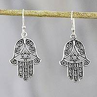Sterling silver dangle earrings, 'Romantic Hamsas' - Hamsa-Shaped Sterling Silver Dangle Earrings from Thailand
