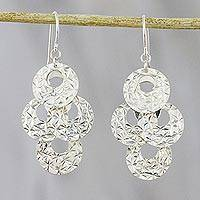 Sterling silver dangle earrings, 'Glittering Tango' - Textured Sterling Silver Dangle Earrings from Thailand