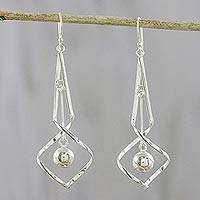 Sterling silver dangle earrings, 'Dazzling Twists' - Spiraling Sterling Silver Dangle Earrings from Thailand