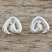 Sterling silver button earrings, 'Love Perspective' - Heart-Shaped Sterling Silver Button Earrings from Thailand