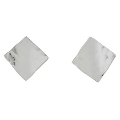 Square-Shaped Sterling Silver Button Earrings from Thailand