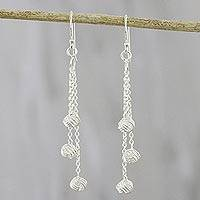 Sterling silver dangle earrings, 'Happy Dance' - Cable Chain Sterling Silver Dangle Earrings from Thailand
