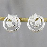 Sterling silver button earrings, 'Rings of Leaves' - Circular Leaf Motif Sterling Silver Earrings from Thailand