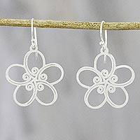 Sterling silver dangle earrings, 'Floral Trance' - Floral Spiral-Motif Sterling Silver Earrings from Thailand
