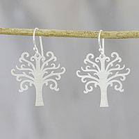 Sterling silver dangle earrings, 'Life Is Natural' - Tree-Shaped Sterling Silver Dangle Earrings from Thailand