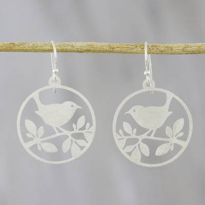 Sterling silver dangle earrings, 'Bird Friends' - Circular Bird-Themed Sterling Silver Earrings from Thailand