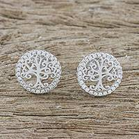 Sterling silver button earrings, 'Glittering Trees' - Tree Motif Sterling Silver Button Earrings from Thailand