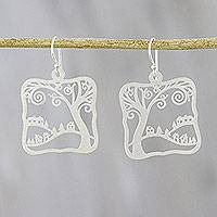 Sterling silver dangle earrings, 'Happy Village' - Creative Sterling Silver Dangle Earrings from Thailand