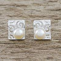 Cultured pearl button earrings, 'Glowing Harmony' - Spiral Motif Cultured Pearl Button Earrings from Thailand