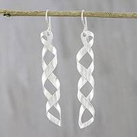 Sterling silver dangle earrings, 'Chilly Wind' - Spiral-Shaped Sterling Silver Dangle Earrings from Thailand