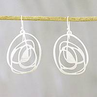 Sterling silver dangle earrings, 'Inspiring Gleam' - Abstract Sterling Silver Dangle Earrings from Thailand