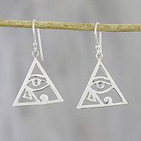 Sterling silver dangle earrings, 'Horus Eyes' - Eye of Horus Sterling Silver Dangle Earrings from Thailand