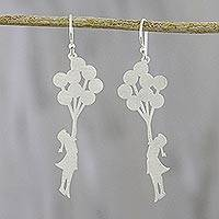 Sterling silver dangle earrings, 'My Balloons' - Whimsical Sterling Silver Dangle Earrings from Thailand