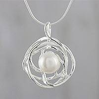 Cultured pearl pendant necklace, 'Nestled Moon' - Abstract Cultured Pearl Pendant Necklace from Thailand