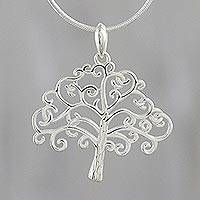 Sterling silver pendant necklace, 'Charming Tree' - Tree-Shaped Sterling Silver Pendant Necklace from Thailand