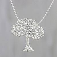 Sterling silver pendant necklace, 'Gleaming Tree' - Tree Motif Sterling Silver Pendant Necklace from Thailand