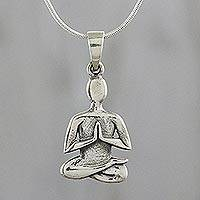 Sterling silver pendant necklace, 'Achieve Peace' - Sterling Silver Yoga Themed Pendant Necklace from Thailand