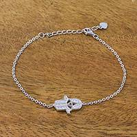 Sterling silver pendant bracelet, 'Protective Hamsa' - Thai Sterling Silver and Cubic Zirconia Hamsa Hand Bracelet