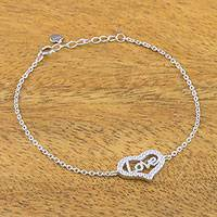 Sterling silver pendant bracelet, 'My Heart is Full' - Sterling Silver and Cubic Zirconia Love Heart Bracelet