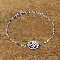 Sterling silver pendant bracelet, 'Bountiful Tree of Life' - Handmade Sterling Silver and Cubic Zirconia Tree Bracelet