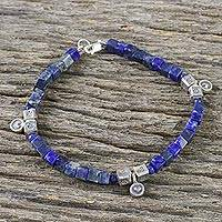 Lapis lazuli beaded bracelet, 'Indigo Love' - Lapis Lazuli and Karen Silver Beaded Bracelet from Thailand