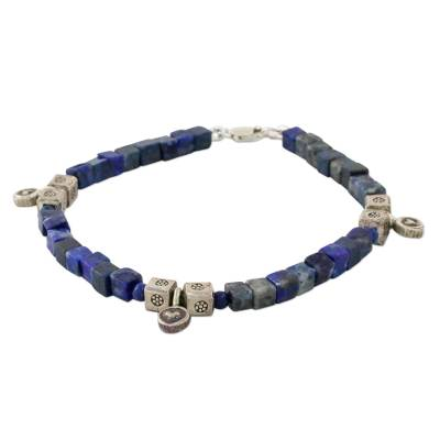 Lapis Lazuli and Karen Silver Beaded Bracelet from Thailand