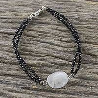 Rainbow moonstone beaded pendant bracelet, 'Moon Lover' - Rainbow Moonstone Beaded Pendant Bracelet from Thailand