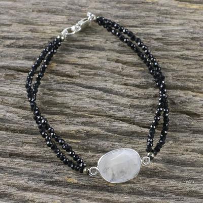 e086998b8a3b21 Rainbow moonstone beaded pendant bracelet, 'Moon Lover' - Rainbow Moonstone  Beaded Pendant Bracelet