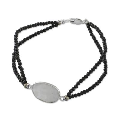 Rainbow moonstone beaded pendant bracelet, 'Moon Lover' - Rainbow Moonstone Beaded Pendant Bracelet from Thailand