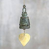 Brass decorative bell, 'Song of Thailand' - Recycled Antiqued Brass Decorative Bell from Thailand