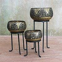 Brass tealight candle holders, 'Royal Glow' (set of 3) - Set of Three Brass Tealight Holders with Stands