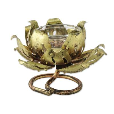 Iron tealight candleholder, 'Lotus Glow' - Floral Iron Tealight Holder from Thailand