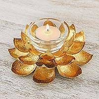 Brass tealight candle holder, 'Gleaming Lotus' - Lotus Shaped Brass Tealight Holder from Thailand