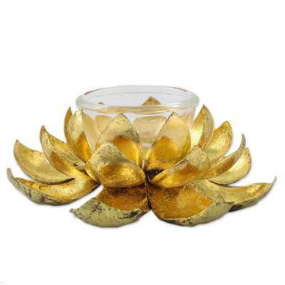 Brass tealight candle holder, 'Lotus Gleam' - Lotus Shaped Brass Tealight Holder from Thailand